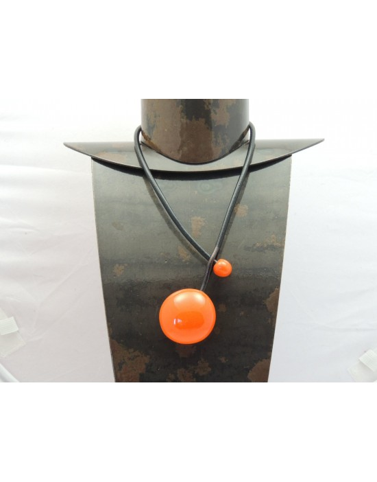 Collier Gévole Galet orange